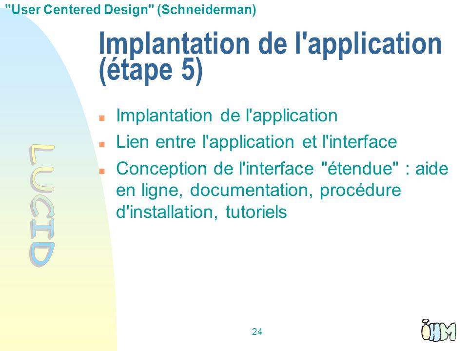 24 Implantation de l'application (étape 5) Implantation de l'application Lien entre l'application et l'interface Conception de l'interface