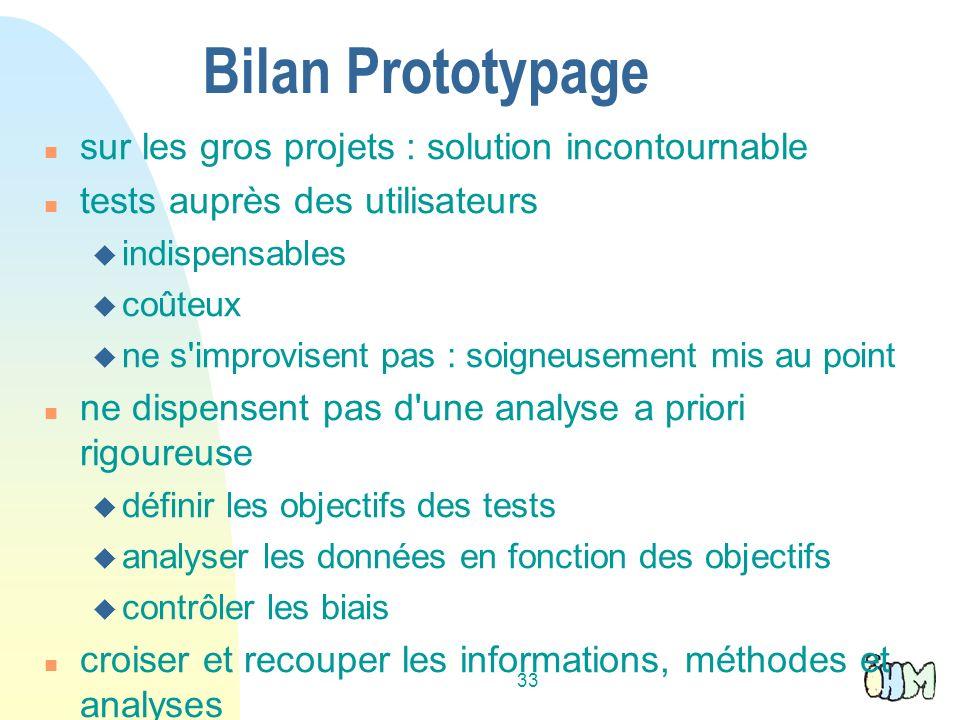 33 Bilan Prototypage sur les gros projets : solution incontournable tests auprès des utilisateurs indispensables coûteux ne s'improvisent pas : soigne