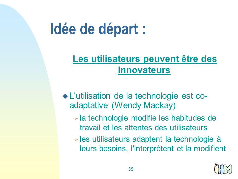 35 Idée de départ : Les utilisateurs peuvent être des innovateurs L'utilisation de la technologie est co- adaptative (Wendy Mackay) la technologie mod