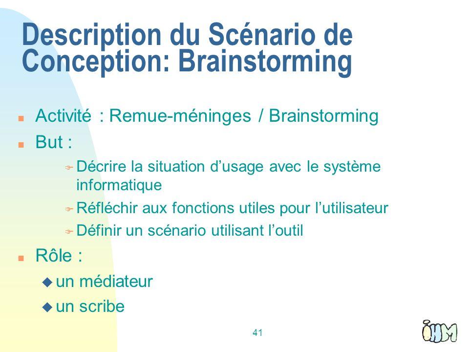 41 Description du Scénario de Conception: Brainstorming Activité : Remue-méninges / Brainstorming But : Décrire la situation dusage avec le système in