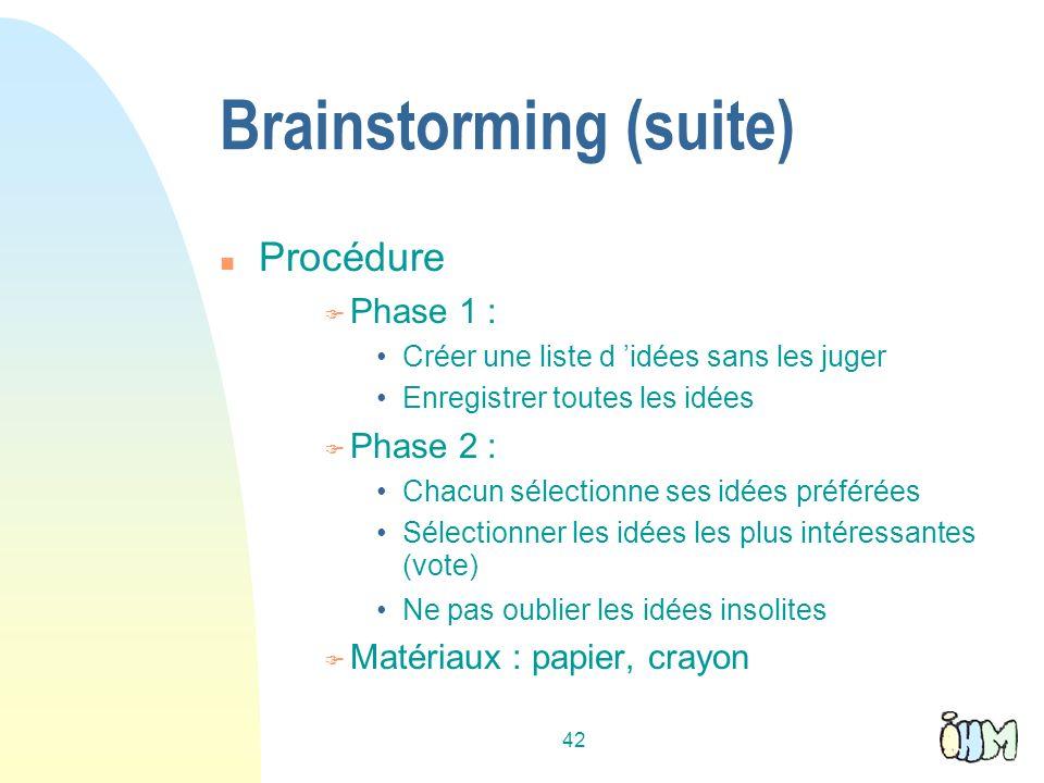 42 Brainstorming (suite) Procédure Phase 1 : Créer une liste d idées sans les juger Enregistrer toutes les idées Phase 2 : Chacun sélectionne ses idée