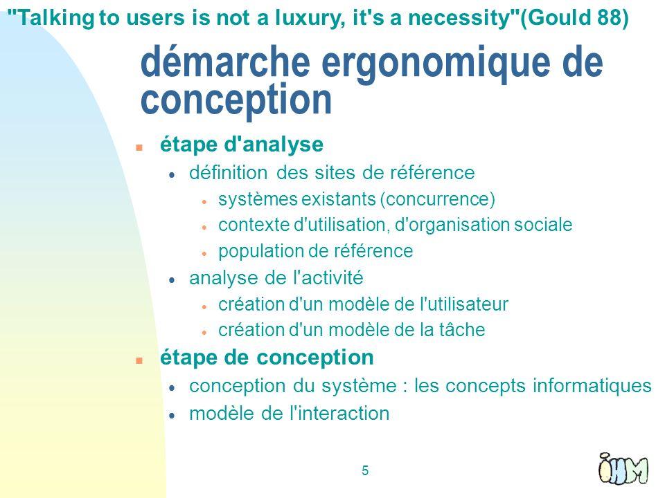 5 démarche ergonomique de conception étape d'analyse définition des sites de référence systèmes existants (concurrence) contexte d'utilisation, d'orga