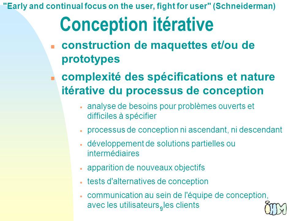 9 Conception itérative construction de maquettes et/ou de prototypes complexité des spécifications et nature itérative du processus de conception anal
