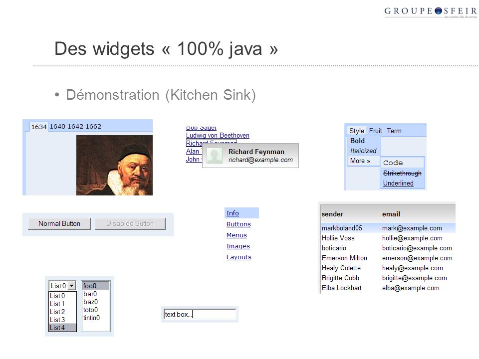 Des widgets « 100% java » Démonstration (Kitchen Sink)