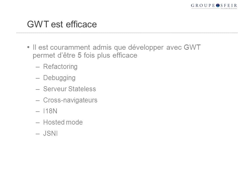 GWT est efficace Il est couramment admis que développer avec GWT permet dêtre 5 fois plus efficace – Refactoring – Debugging – Serveur Stateless – Cross-navigateurs – I18N – Hosted mode – JSNI