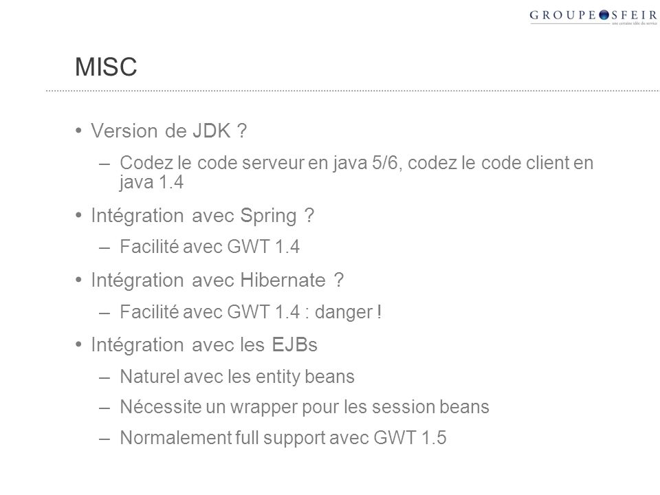 MISC Version de JDK .