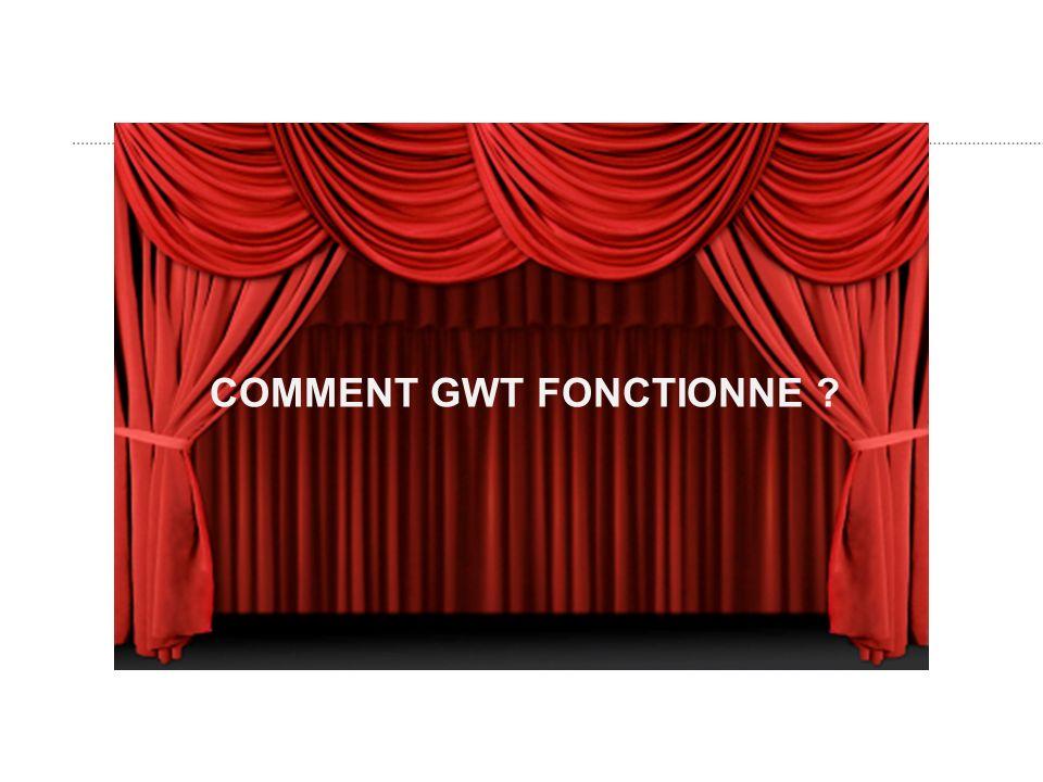 GWT cest des applets Des applets, non merci :-) – Le code java est compilé en javascript durant la phase de développement !