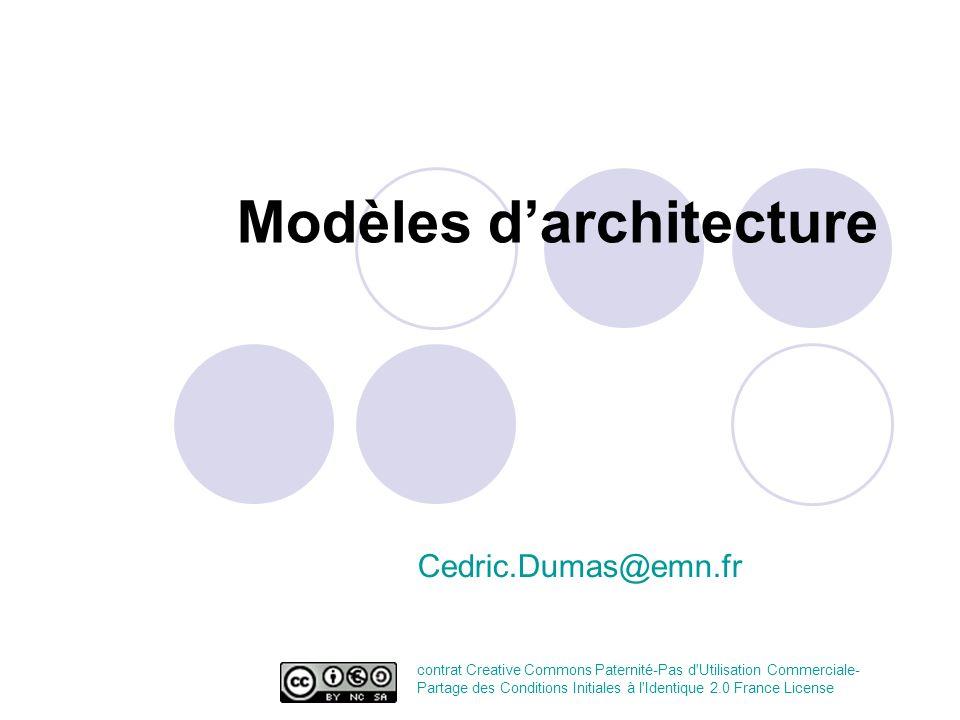 Modèles darchitecture Cedric.Dumas@emn.fr contrat Creative Commons Paternité-Pas d'Utilisation Commerciale- Partage des Conditions Initiales à l'Ident