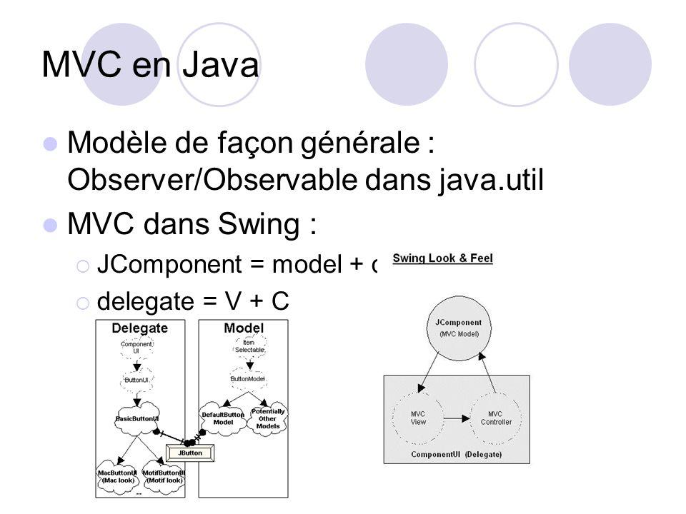 MVC en Java Modèle de façon générale : Observer/Observable dans java.util MVC dans Swing : JComponent = model + delegate delegate = V + C