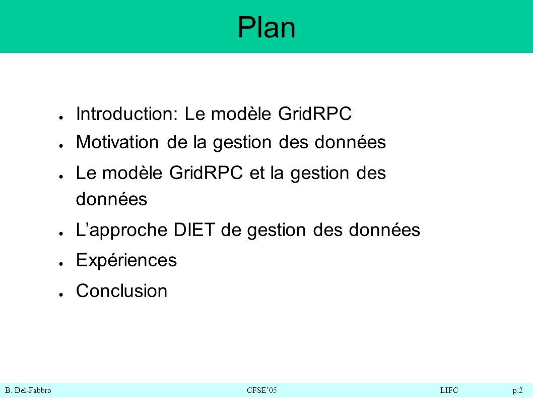 B. Del-FabbroCFSE05LIFC p.2 Plan Introduction: Le modèle GridRPC Motivation de la gestion des données Le modèle GridRPC et la gestion des données Lapp