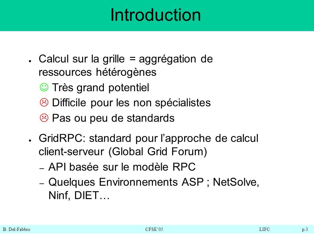 B. Del-FabbroCFSE05LIFC p.3 Introduction Calcul sur la grille = aggrégation de ressources hétérogènes Très grand potentiel Difficile pour les non spéc