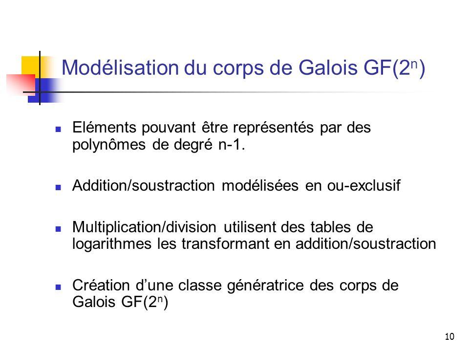10 Modélisation du corps de Galois GF(2 n ) Eléments pouvant être représentés par des polynômes de degré n-1. Addition/soustraction modélisées en ou-e