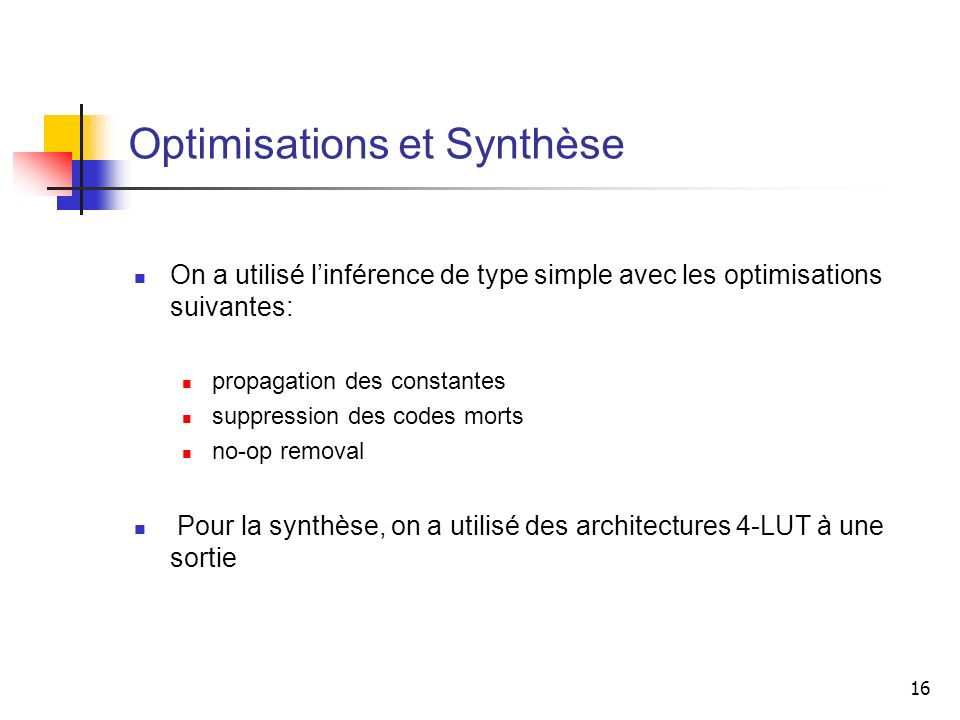 16 Optimisations et Synthèse On a utilisé linférence de type simple avec les optimisations suivantes: propagation des constantes suppression des codes