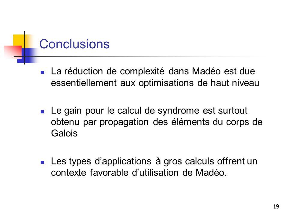 19 Conclusions La réduction de complexité dans Madéo est due essentiellement aux optimisations de haut niveau Le gain pour le calcul de syndrome est s