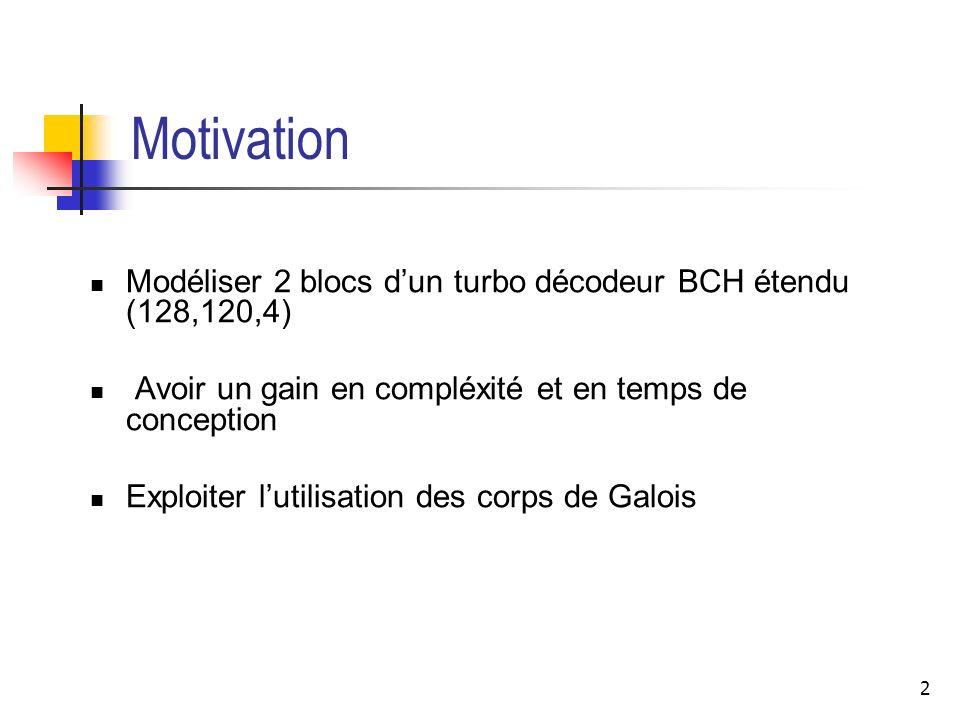 2 Motivation Modéliser 2 blocs dun turbo décodeur BCH étendu (128,120,4) Avoir un gain en compléxité et en temps de conception Exploiter lutilisation
