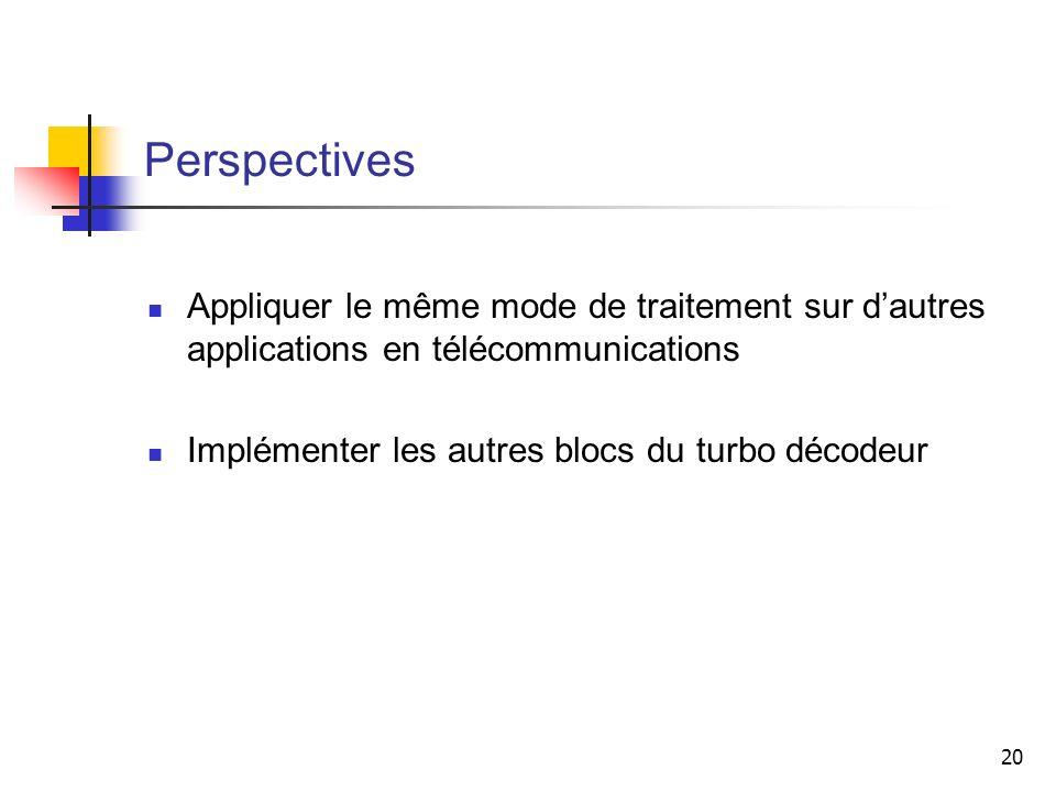 20 Perspectives Appliquer le même mode de traitement sur dautres applications en télécommunications Implémenter les autres blocs du turbo décodeur