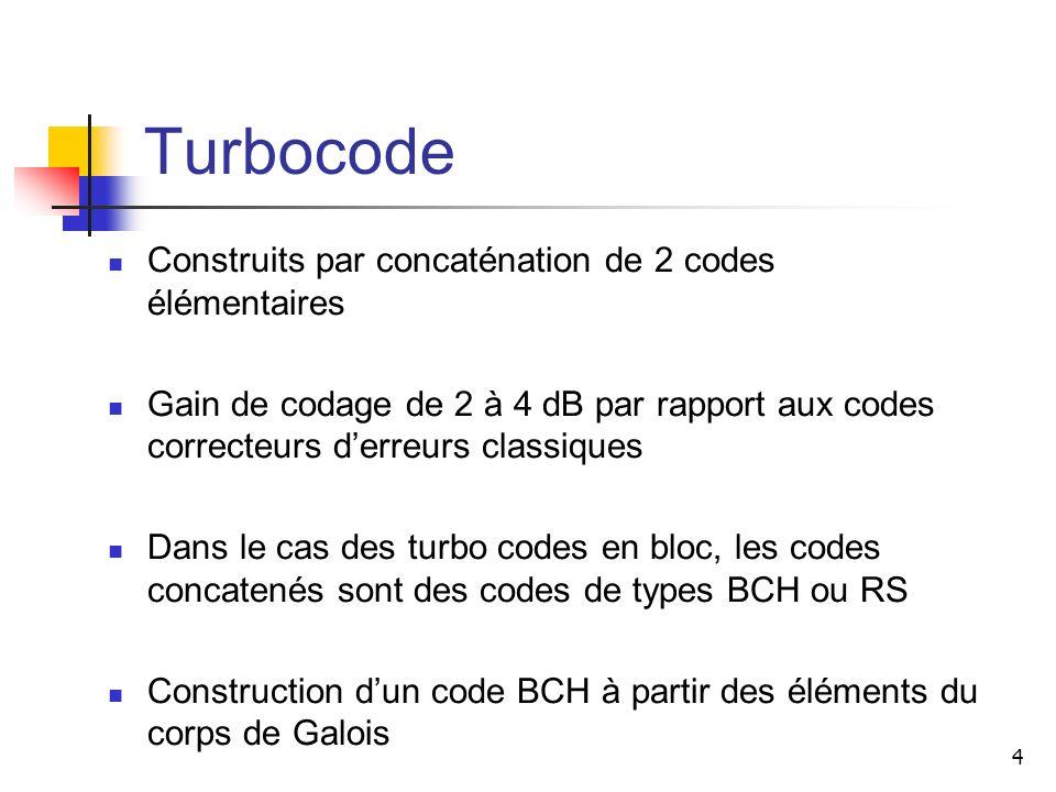 4 Turbocode Construits par concaténation de 2 codes élémentaires Gain de codage de 2 à 4 dB par rapport aux codes correcteurs derreurs classiques Dans