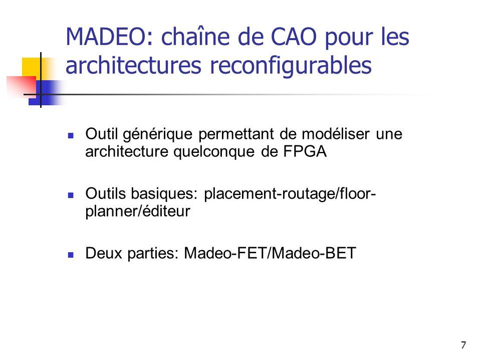 7 Outil générique permettant de modéliser une architecture quelconque de FPGA Outils basiques: placement-routage/floor- planner/éditeur Deux parties: