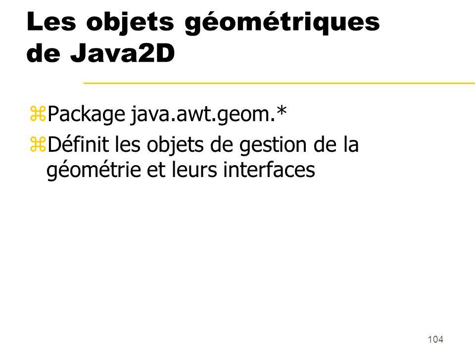 104 Les objets géométriques de Java2D zPackage java.awt.geom.* zDéfinit les objets de gestion de la géométrie et leurs interfaces