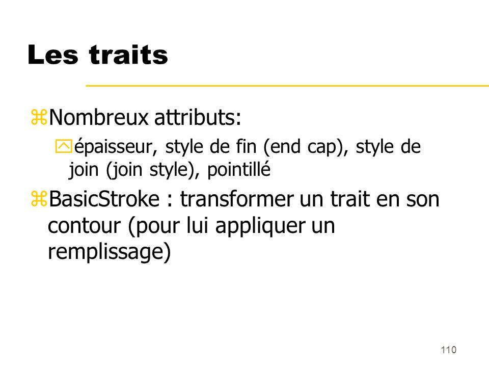 110 Les traits zNombreux attributs: yépaisseur, style de fin (end cap), style de join (join style), pointillé zBasicStroke : transformer un trait en s