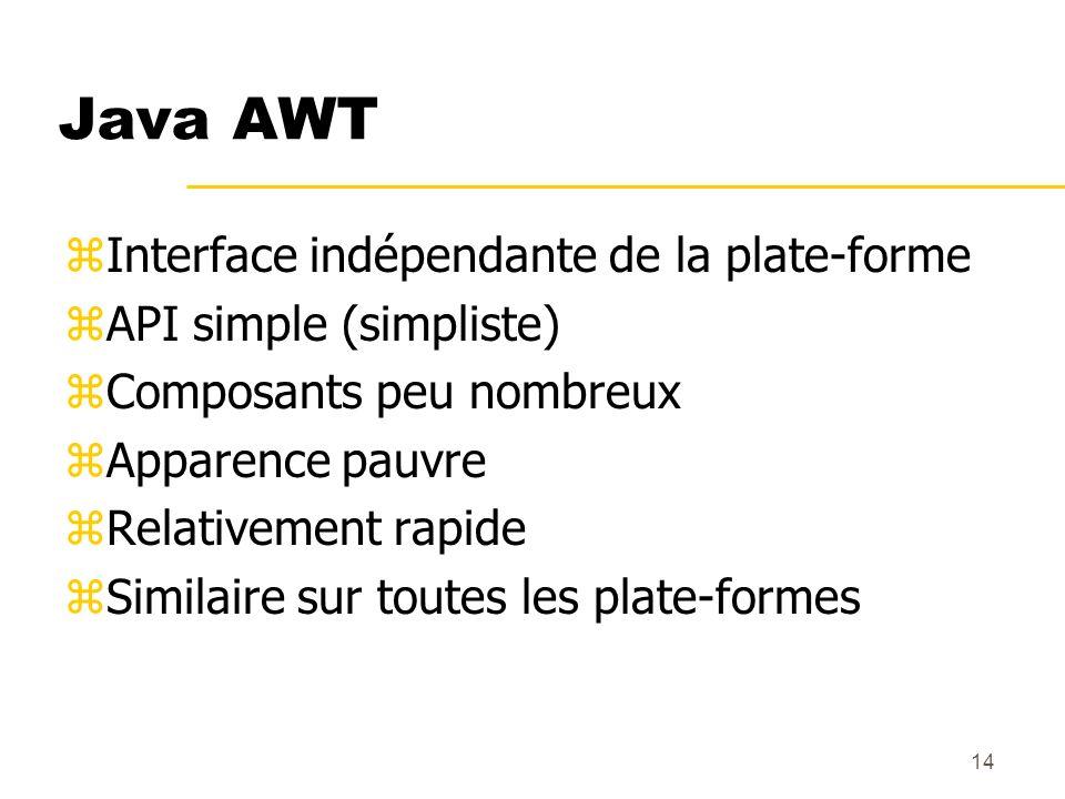 14 Java AWT zInterface indépendante de la plate-forme zAPI simple (simpliste) zComposants peu nombreux zApparence pauvre zRelativement rapide zSimilai