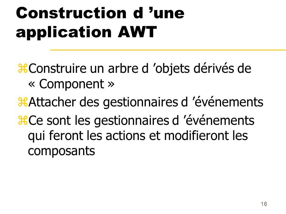 16 Construction d une application AWT zConstruire un arbre d objets dérivés de « Component » zAttacher des gestionnaires d événements zCe sont les ges