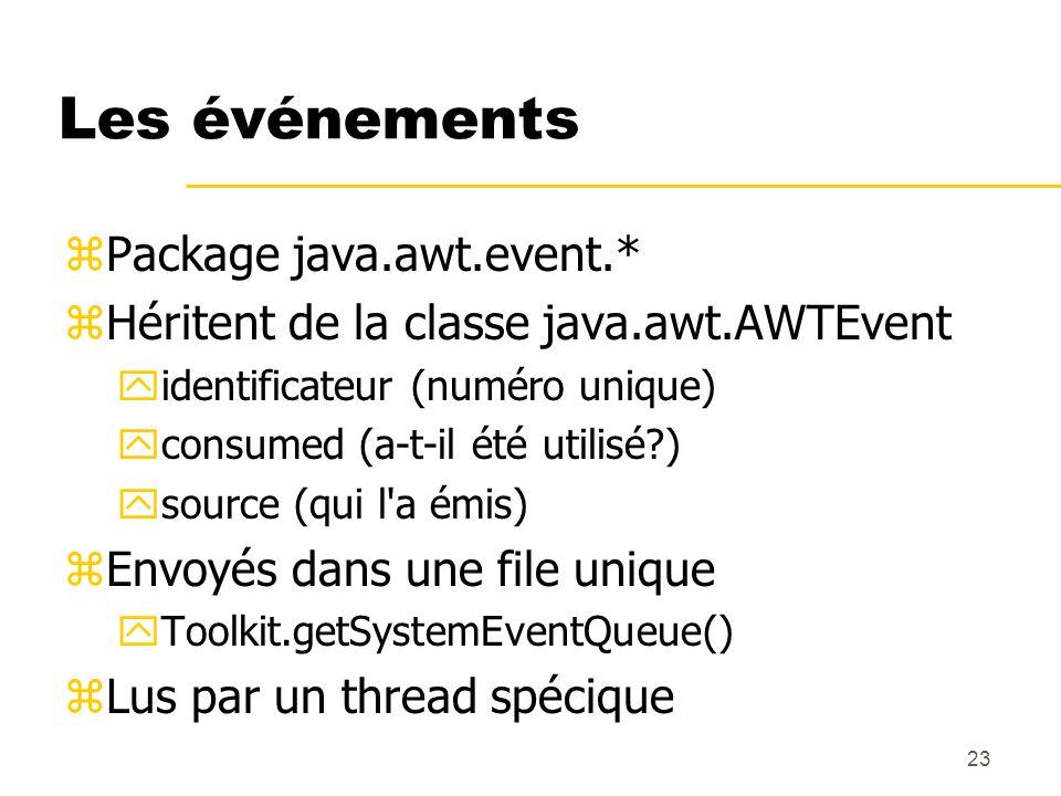 23 Les événements zPackage java.awt.event.* zHéritent de la classe java.awt.AWTEvent yidentificateur (numéro unique) yconsumed (a-t-il été utilisé?) y