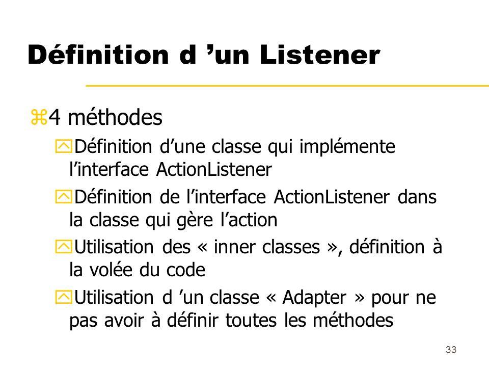 33 Définition d un Listener z4 méthodes yDéfinition dune classe qui implémente linterface ActionListener yDéfinition de linterface ActionListener dans