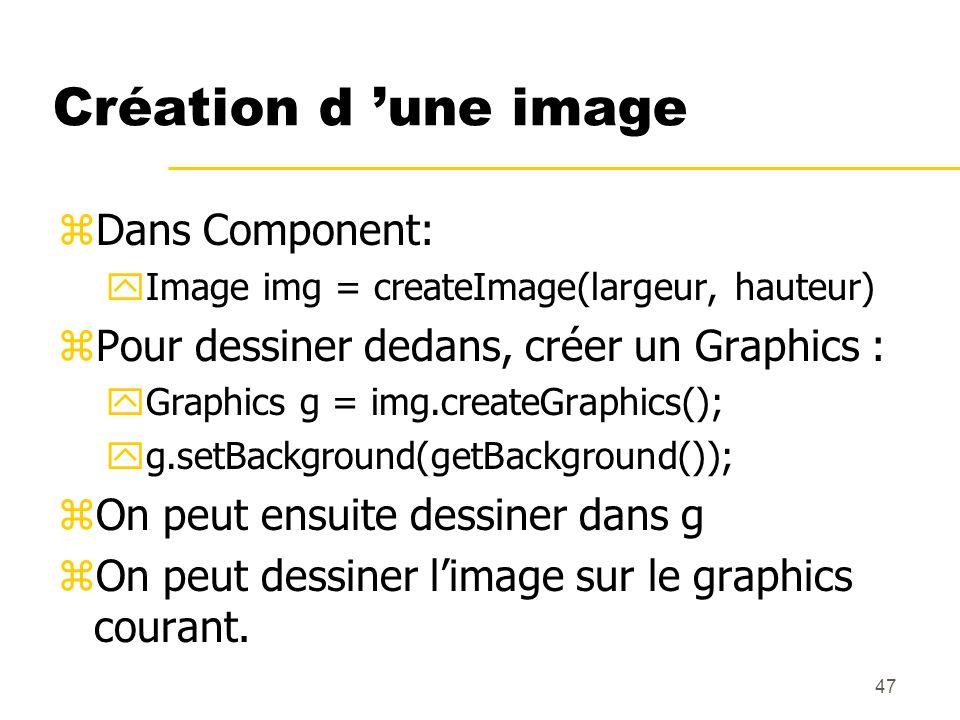 47 Création d une image zDans Component: yImage img = createImage(largeur, hauteur) zPour dessiner dedans, créer un Graphics : yGraphics g = img.creat