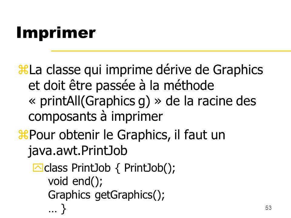 53 Imprimer zLa classe qui imprime dérive de Graphics et doit être passée à la méthode « printAll(Graphics g) » de la racine des composants à imprimer