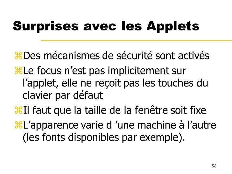 58 Surprises avec les Applets zDes mécanismes de sécurité sont activés zLe focus nest pas implicitement sur lapplet, elle ne reçoit pas les touches du