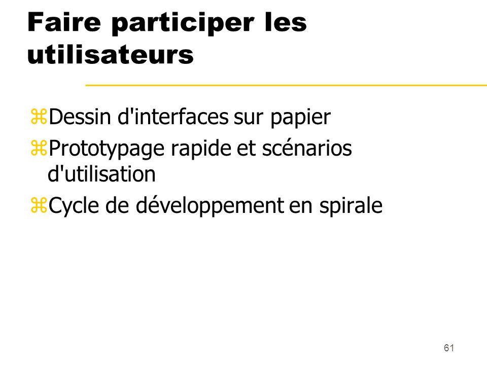 61 Faire participer les utilisateurs zDessin d'interfaces sur papier zPrototypage rapide et scénarios d'utilisation zCycle de développement en spirale