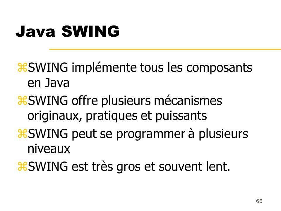 66 Java SWING zSWING implémente tous les composants en Java zSWING offre plusieurs mécanismes originaux, pratiques et puissants zSWING peut se program