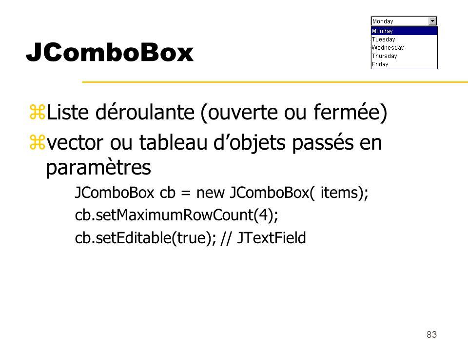 83 JComboBox zListe déroulante (ouverte ou fermée) zvector ou tableau dobjets passés en paramètres JComboBox cb = new JComboBox( items); cb.setMaximum