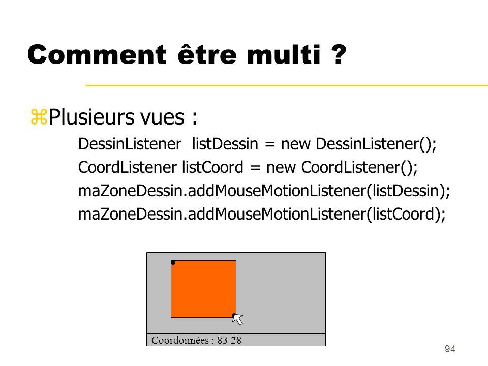 94 Comment être multi ? zPlusieurs vues : DessinListener listDessin = new DessinListener(); CoordListener listCoord = new CoordListener(); maZoneDessi