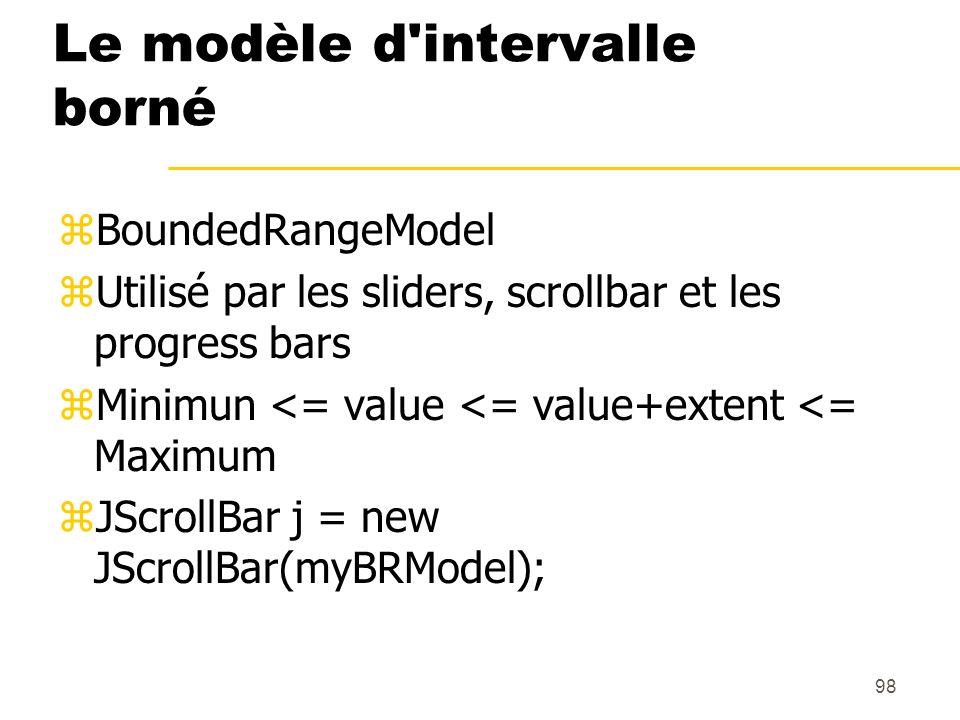 98 Le modèle d'intervalle borné zBoundedRangeModel zUtilisé par les sliders, scrollbar et les progress bars zMinimun <= value <= value+extent <= Maxim