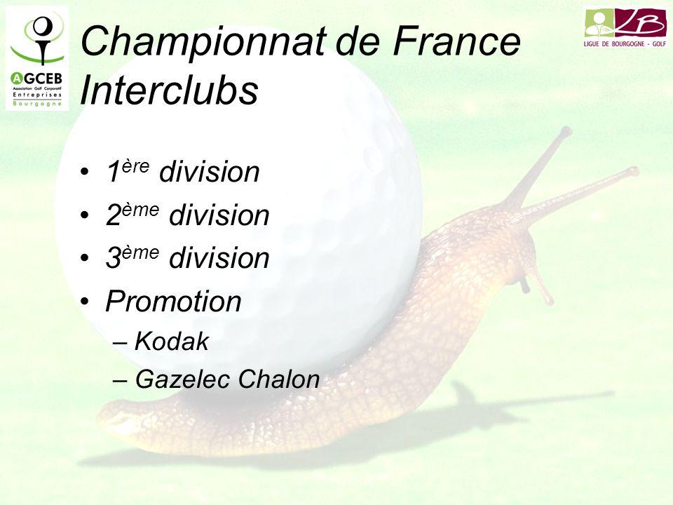 Championnat de France Interclubs 1 ère division 2 ème division 3 ème division Promotion –Kodak –Gazelec Chalon