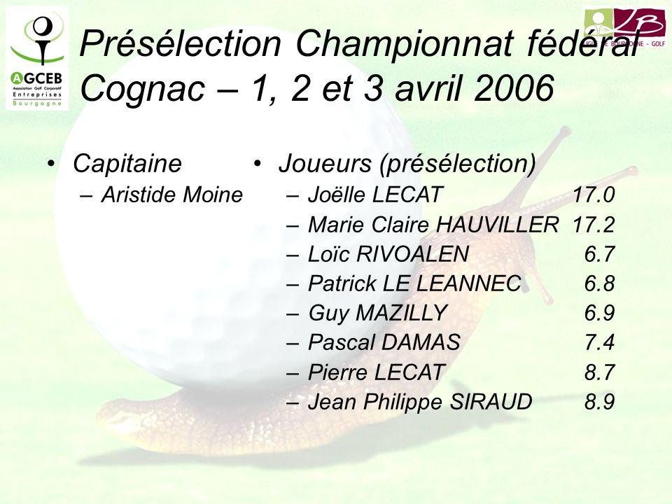 Présélection Championnat fédéral Cognac – 1, 2 et 3 avril 2006 Capitaine –Aristide Moine Joueurs (présélection) –Joëlle LECAT17.0 –Marie Claire HAUVILLER17.2 –Loïc RIVOALEN6.7 –Patrick LE LEANNEC6.8 –Guy MAZILLY6.9 –Pascal DAMAS7.4 –Pierre LECAT8.7 –Jean Philippe SIRAUD8.9