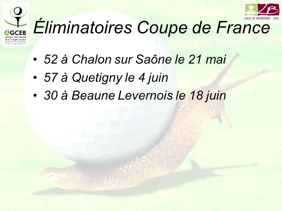 Éliminatoires Coupe de France 52 à Chalon sur Saône le 21 mai 57 à Quetigny le 4 juin 30 à Beaune Levernois le 18 juin