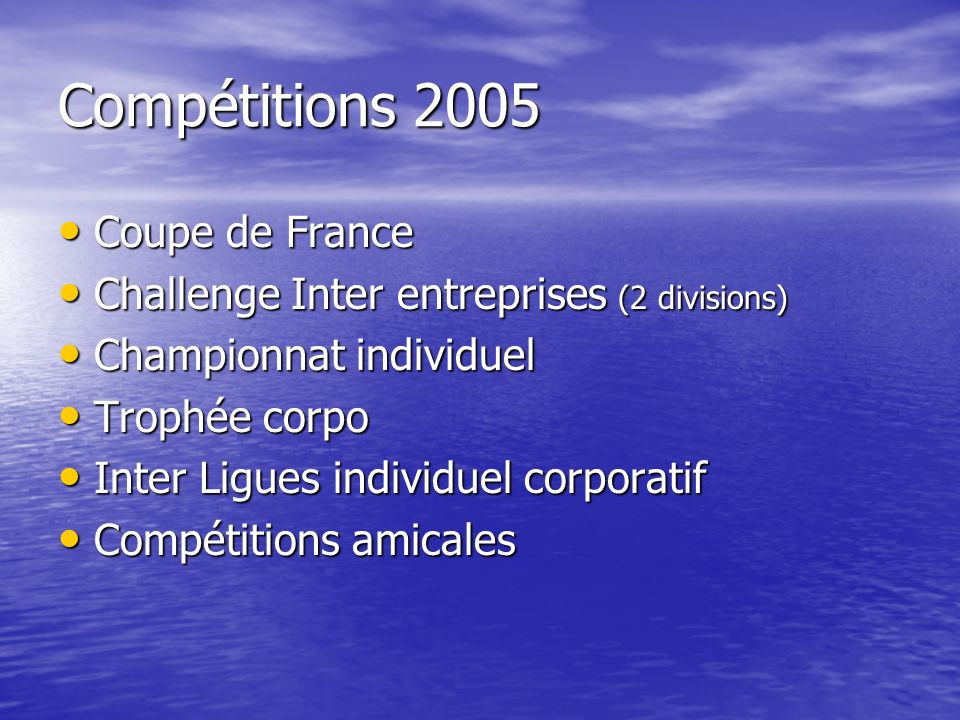 Compétitions 2005 Coupe de France Coupe de France Challenge Inter entreprises (2 divisions) Challenge Inter entreprises (2 divisions) Championnat individuel Championnat individuel Trophée corpo Trophée corpo Inter Ligues individuel corporatif Inter Ligues individuel corporatif Compétitions amicales Compétitions amicales