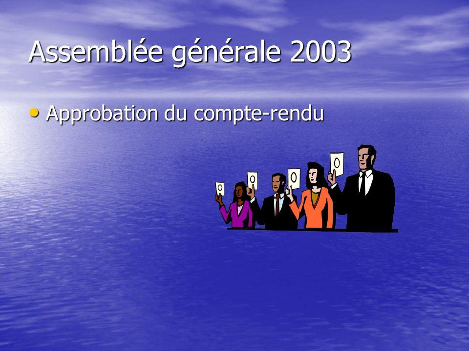 Assemblée générale 2003 Approbation du compte-rendu Approbation du compte-rendu