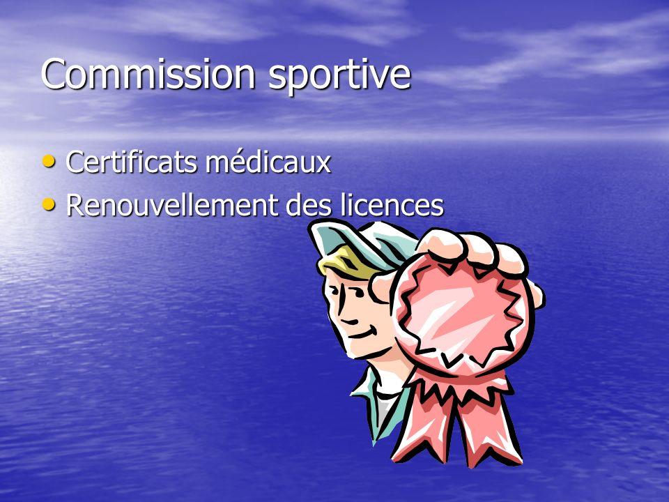 Commission sportive Certificats médicaux Certificats médicaux Renouvellement des licences Renouvellement des licences