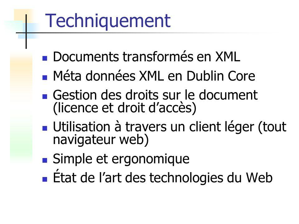 Techniquement Documents transformés en XML Méta données XML en Dublin Core Gestion des droits sur le document (licence et droit daccès) Utilisation à travers un client léger (tout navigateur web) Simple et ergonomique État de lart des technologies du Web