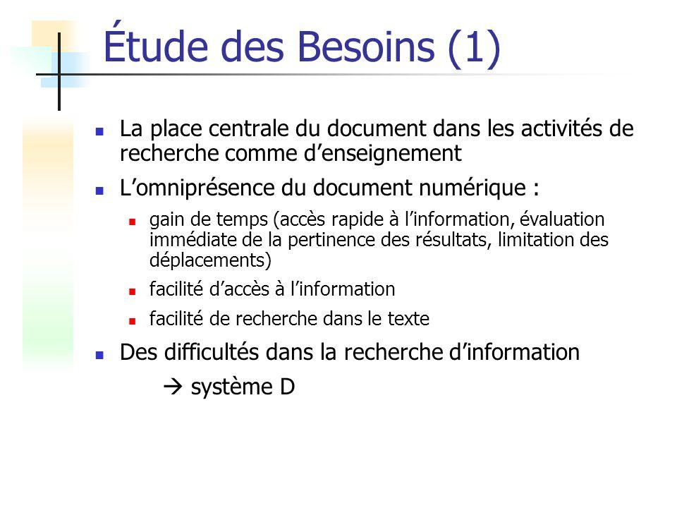 Étude des Besoins (1) La place centrale du document dans les activités de recherche comme denseignement Lomniprésence du document numérique : gain de