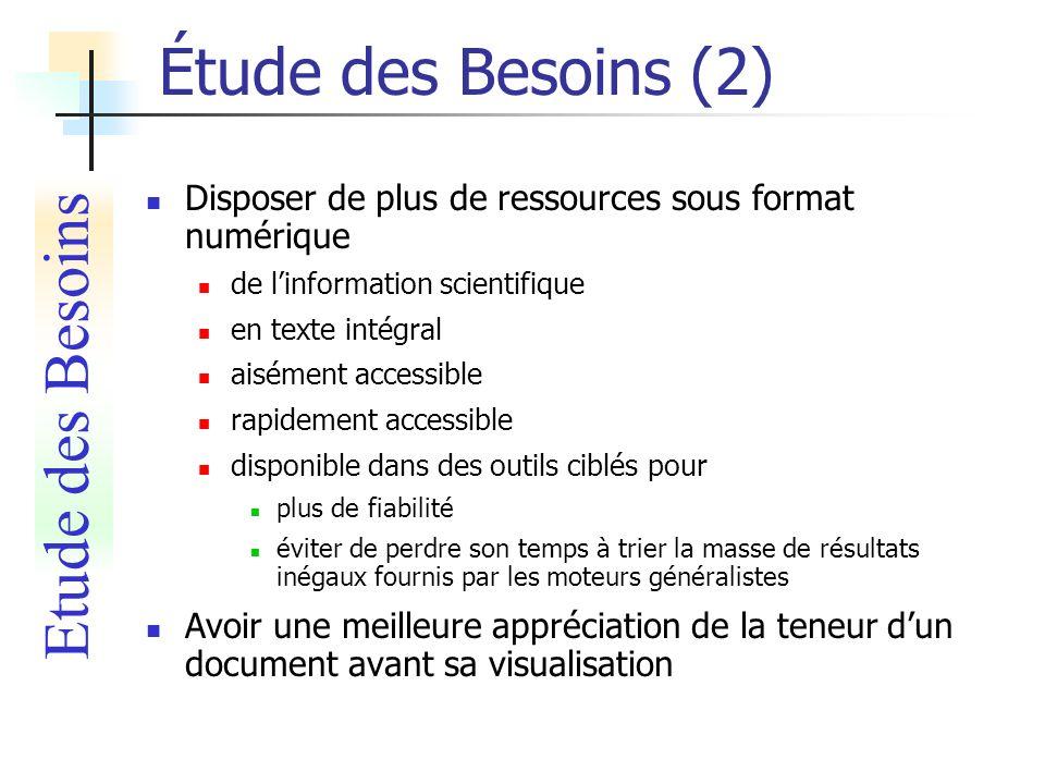 Étude des Besoins (2) Disposer de plus de ressources sous format numérique de linformation scientifique en texte intégral aisément accessible rapideme