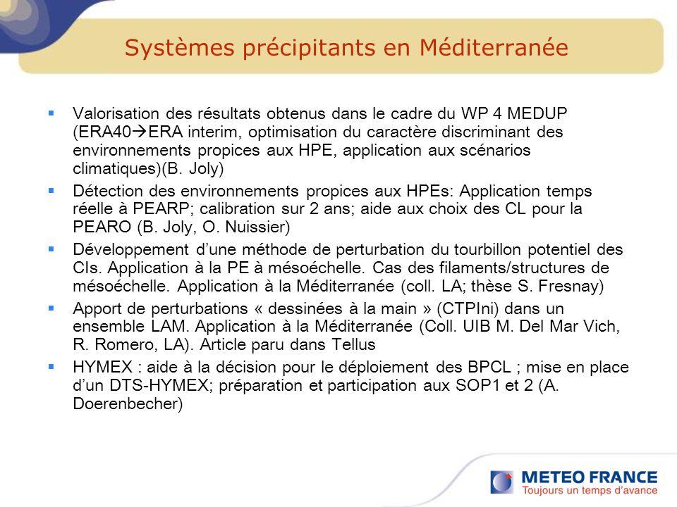 Systèmes précipitants en Méditerranée Valorisation des résultats obtenus dans le cadre du WP 4 MEDUP (ERA40 ERA interim, optimisation du caractère dis