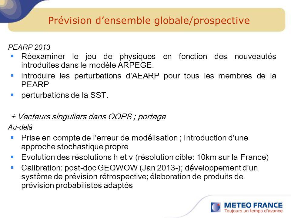 Prévision densemble globale/prospective Réexaminer le jeu de physiques en fonction des nouveautés introduites dans le modèle ARPEGE. introduire les pe