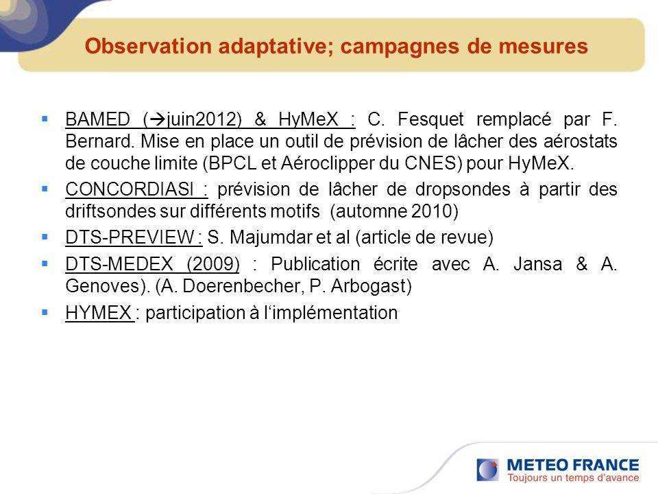 Observation adaptative; campagnes de mesures BAMED ( juin2012) & HyMeX : C. Fesquet remplacé par F. Bernard. Mise en place un outil de prévision de lâ
