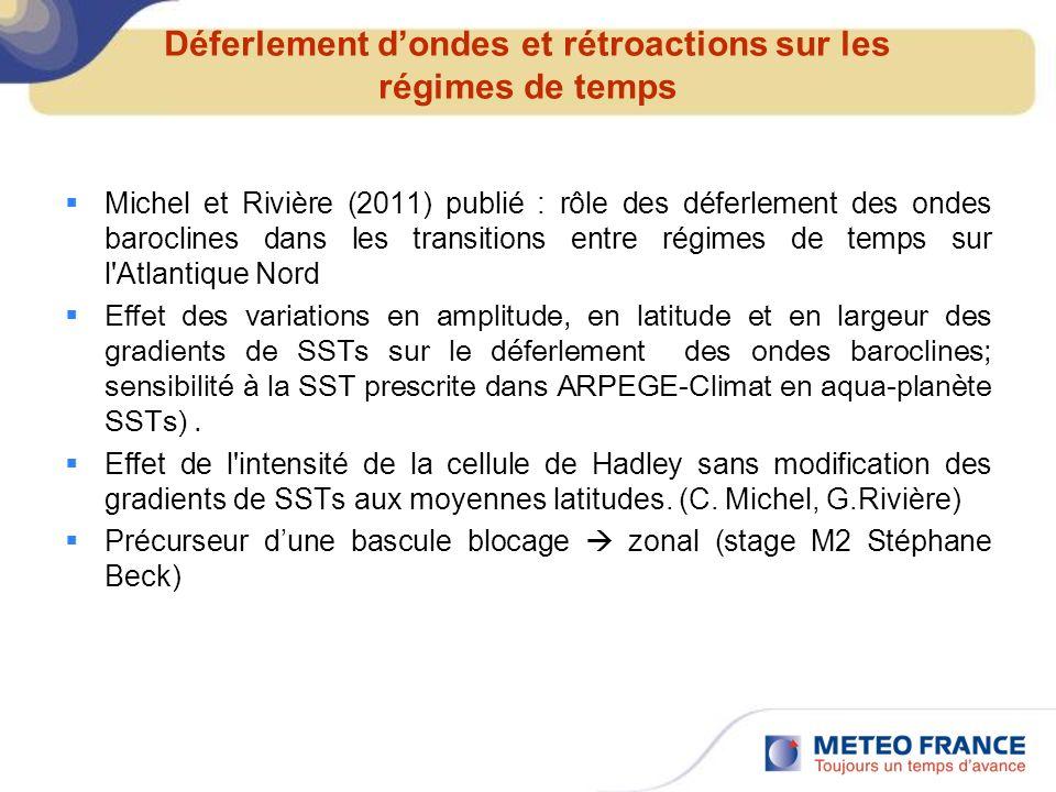 Déferlement dondes et rétroactions sur les régimes de temps Michel et Rivière (2011) publié : rôle des déferlement des ondes baroclines dans les trans