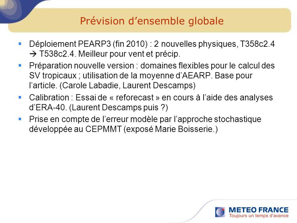 Prévision densemble globale Déploiement PEARP3 (fin 2010) : 2 nouvelles physiques, T358c2.4 T538c2.4. Meilleur pour vent et précip. Préparation nouvel